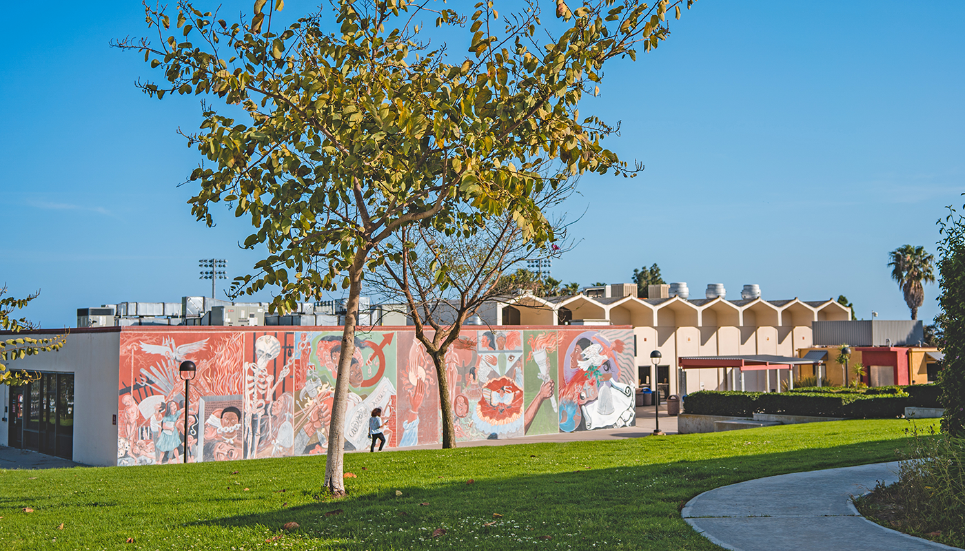 SBCC mural depicting ethnic diversity.