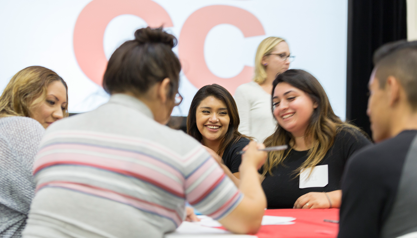 SBCC dual enrollment students sitting at a table together.