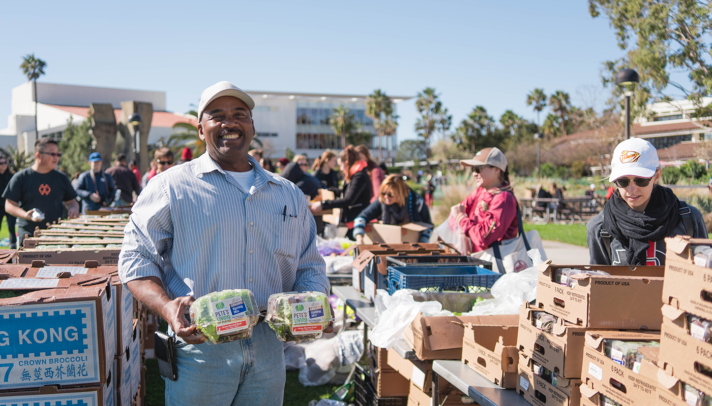 SBCC's Equity Office hosts monthly food shares on West Campus for students.