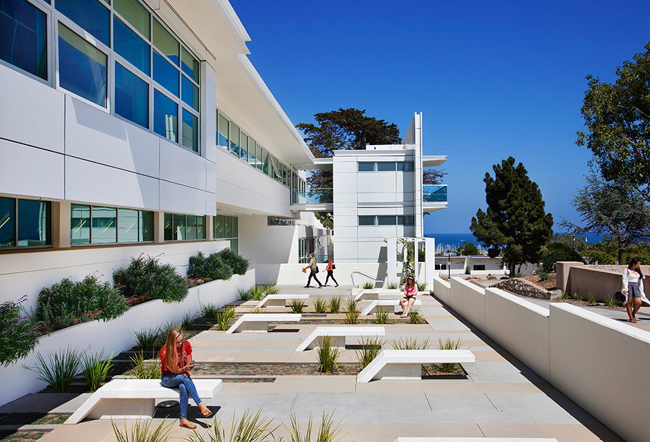 Santa Barbara City College Humanities building with Students